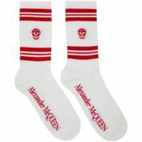 Alexander McQueen White and Red Stripe Skull Sport Socks 192259M22000201GB