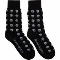 Alexander McQueen Black and White Short Skull Socks 192259M22000602GB