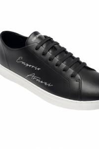 Черные кожаные кеды с логотипом Emporio Armani 2706129420