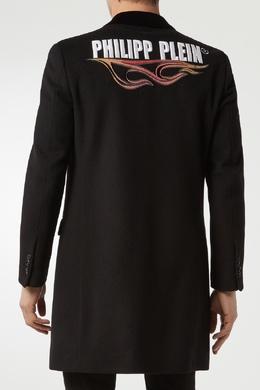Черное пальто с вышивкой Philipp Plein 1795130704