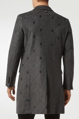 Серое пальто с узором Philipp Plein 1795130705