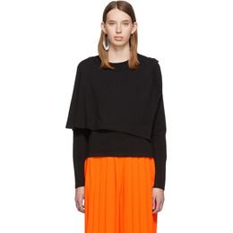 Mm6 Maison Margiela Black Double Layer Long Sleeve T-Shirt 192188F11000302GB