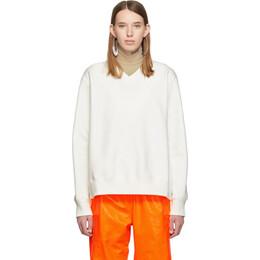 Mm6 Maison Margiela Off-White Double V-Neck Sweatshirt 192188F09800502GB