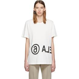 Mm6 Maison Margiela Off-White Oversized Logo T-Shirt 192188F11000804GB