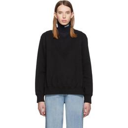 Mm6 Maison Margiela Black Double V-Neck Sweatshirt 192188F09800705GB