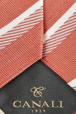 Оранжевый галстук в полоску Canali 1793126696