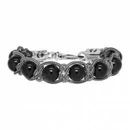 Emanuele Bicocchi Silver and Black Beaded Bracelet 192883M14202902GB