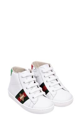 Высокие белые кеды с отделкой Gucci Kids 1256134333