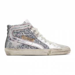 Golden Goose Silver and Pink Glitter Slide Sneakers 192264F12701307GB