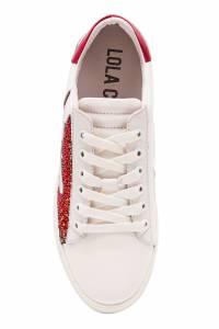 Белые кеды с красными вставками Lola Cruz 1698135274