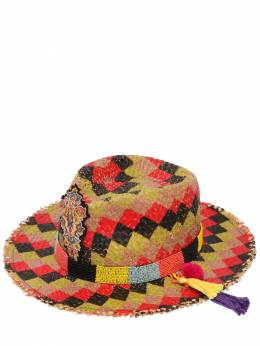 Соломенная Шляпа В Клетку С Бисерной Вышивкой Etro 67ID4O003-MQ2