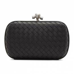 Bottega Veneta Black Intrecciato Chain Knot Clutch 192798F04400501GB