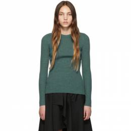 3.1 Phillip Lim Green Ribbed Pullover Sweater 192283F09601203GB