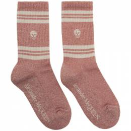 Alexander McQueen Pink Metallic Skull Stripe Socks 192259F07600403GB