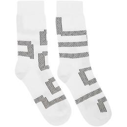 Versace White and Black Greek Key Socks 192404M22001002GB