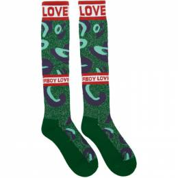 Charles Jeffrey Loverboy Green and Blue Loverboy Monster Socks 192101F07600101GB