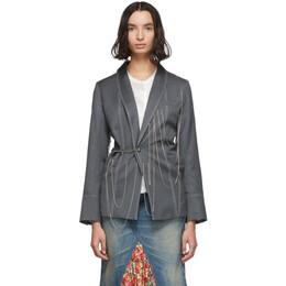 Charles Jeffrey Loverboy Grey Chained Blazer 192101F05700103GB