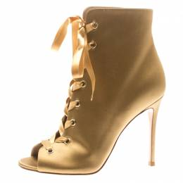 Gianvito Rossi Gold Satin Marie Peep Toe Lace Up Ankle Booties Size 40 185612
