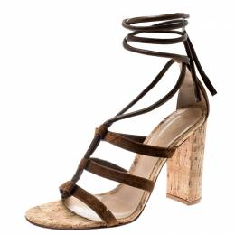 Gianvito Rossi Brown Suede And Leather Cayman Ankle Wrap Strappy Sandals Size 38 186920