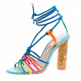 Sophia Webster Multicolor Leather Cord Copacabana Cork Heel Ankle Wrap Sandals Size 37.5 192839