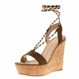 Gianvito Rossi Brown Suede Ankle Wrap Cork Wedge Sandals Size 40 186816