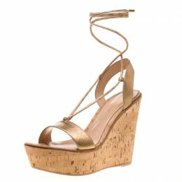 Gianvito Rossi Metallic Gold Leather Ankle Wrap Cork Wedge Sandals Size 40 196027