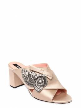 Туфли-мюли Из Атласа Со Стразами 60mm Rochas 67I3EA001-MTE30