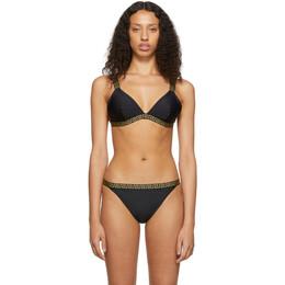 Versace Underwear Black Greek Key Triangle Bikini Top 192653F10500705GB