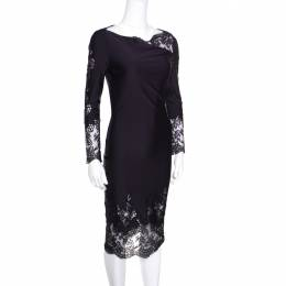 Ermanno Scervino Navy Blue Draped Neckline Lace Detail Fitted Midi Dress XS 155996