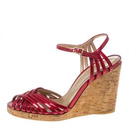 Stuart Weitzman Red Patent Leather Cork Wedge Ankle Strap Platform Sandals Size 38 156618
