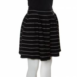 Alaia Monochrome Embossed Jacquard Knit High Waist Mini Skirt M 151012