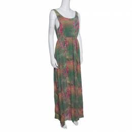 Alice + Olivia Green and Pink Floral Printed Silk Sleeveless Dress S 152179
