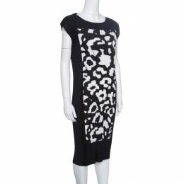 Escada Monochrome Accordion Pleated Diba Dress S 153366