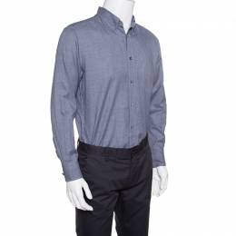 Ermenegildo Zegna Navy Blue and Grey Houndstooth Pattern Button Down Shirt XL 153160