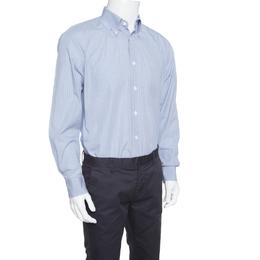 Ermenegildo Zegna Blue Checked Cotton Regular Fit Button Down Shirt L 153174