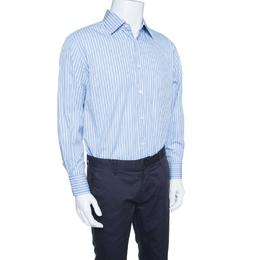 Ermenegildo Zegna Blue Striped Cotton Regular Fit Button Front Shirt XL 153170