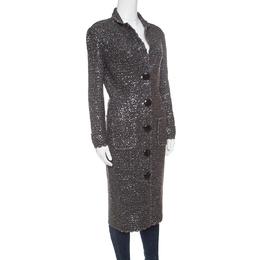 D&G Grey Sequined Lurex Knit Long Coat XL Dandg
