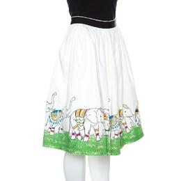 Alice + Olivia Off White Elephant Picnic Print Gathered Cotton Skirt M 148995