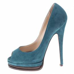 Casadei Blue Suede Peep Toe Platform Pumps Size 35 150356