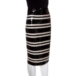 Alice + Olivia Monochrome Striped Rue Sequined Pencil Skirt XS 149005
