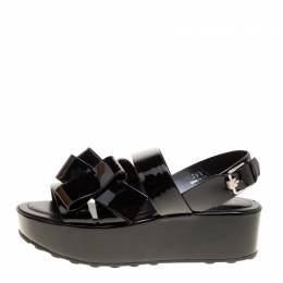 Tod's Black Patent Leather Slingback Platform Sandals Size 39.5 149016