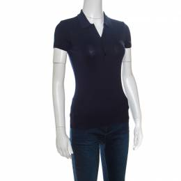Ralph Lauren Navy Blue Stretch Rib Knit Logo Embroidered Fitted Polo Shirt XS