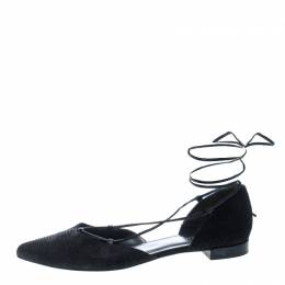 Stuart Weitzman Black Pyrite Fabric Giligan Lace Up Ballet Flats Size 40.5 148243