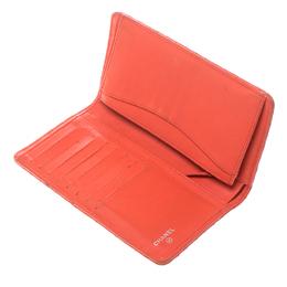Chanel Orange Chevron Leather CC Long Wallet 149862