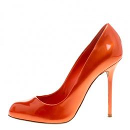 Sergio Rossi Orange Patent Leather Flamenco Pumps Size 38 145752