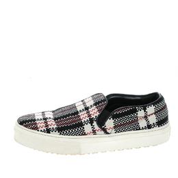 Celine Multicolor Checkered Print Canvas Skate Slip On Sneakers Size 37 143692