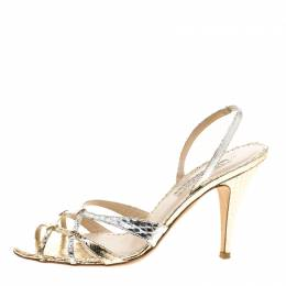 Oscar De La Renta Metallic Python Embossed Leather Slingback Sandals Size 37.5 143402
