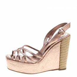 Sergio Rossi Rose Gold Leather Slingback Espadrilles Wedge Sandals Size 40 144614