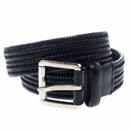 Ermenegildo Zegna Navy Blue Braided Woven Leather Elastic Belt 110 CM 145442