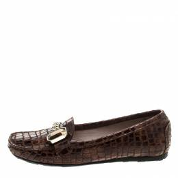 Stuart Weitzman Brown Croc Embossed Suede and Leather Crystal Embellished Loafers Size 36 144853